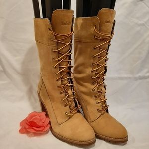 Timberland wood heeled boots size 8
